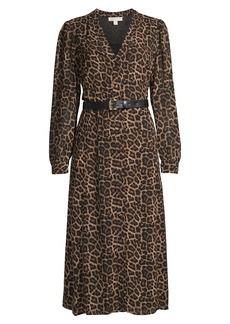 MICHAEL Michael Kors Leopard-Print Belted Shirtdress