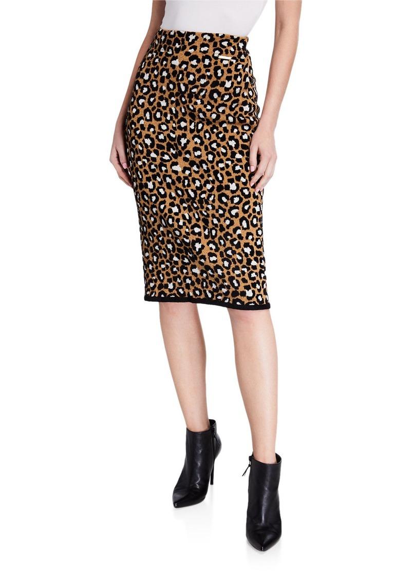 MICHAEL Michael Kors Leopard-Print Pull-on Pencil Skirt