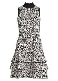 MICHAEL Michael Kors Leopard Print Ruffled Sheath Dress