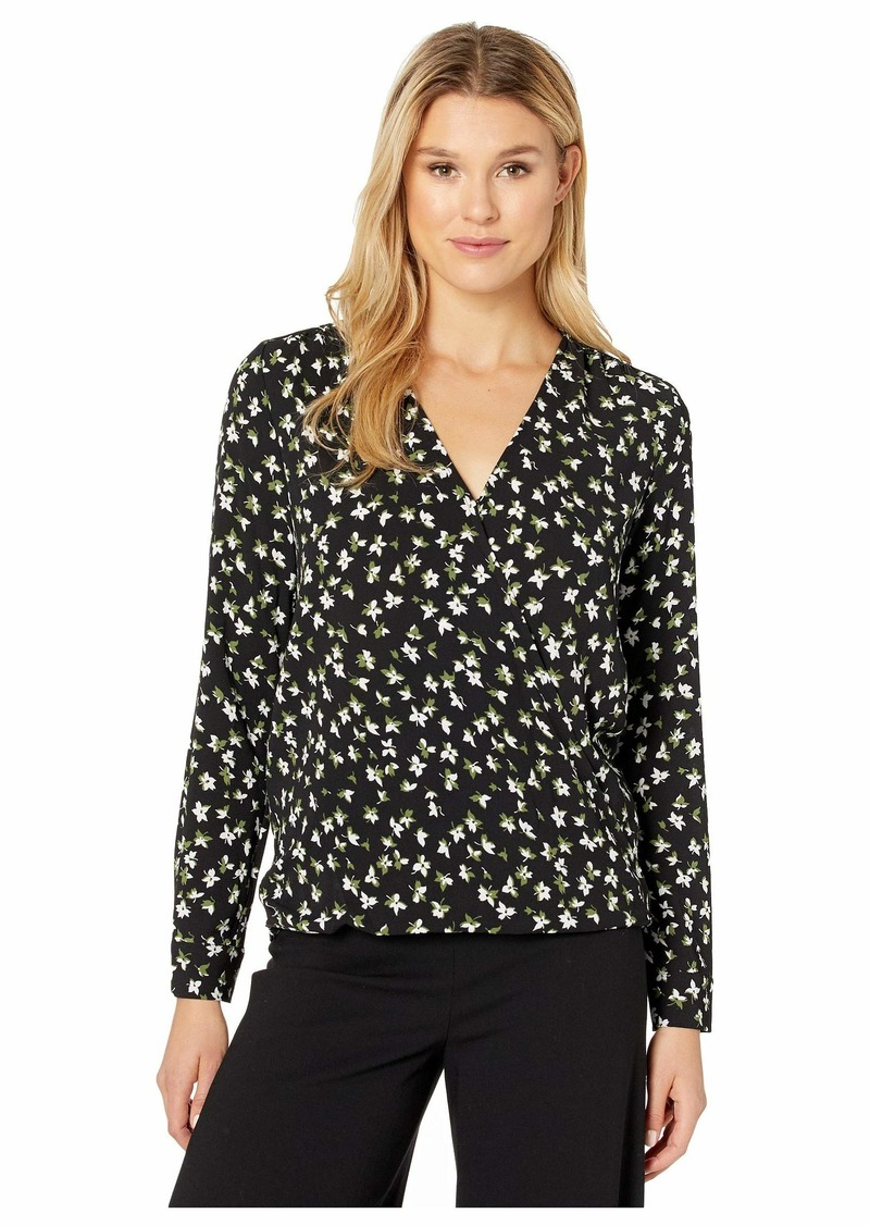 MICHAEL Michael Kors Lillies Long Sleeve Wrap Top