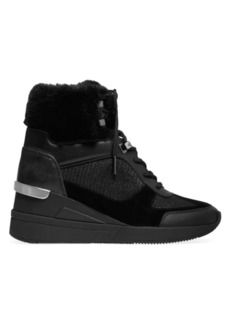 MICHAEL Michael Kors Liv Faux Fur-Lined Mixed-Media Sneaker Wedges