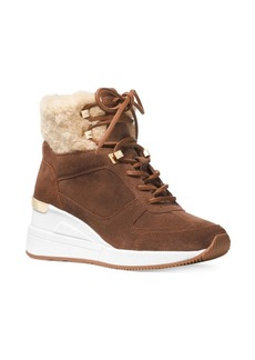 MICHAEL Michael Kors Liv Shearling-Trim Suede Wedge Booties