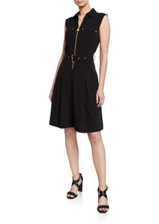 MICHAEL Michael Kors Lock Zip Sleeveless Belted Shirtdress