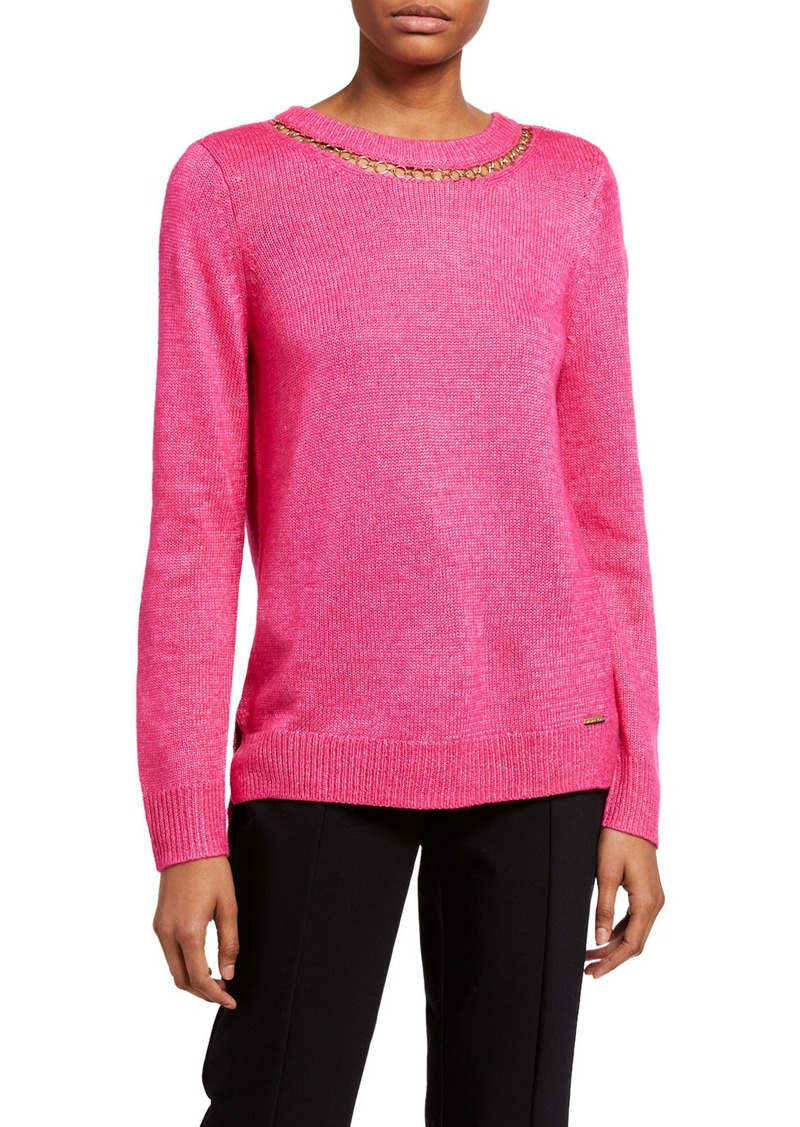 MICHAEL Michael Kors Long-Sleeve Chain Neck Sweater
