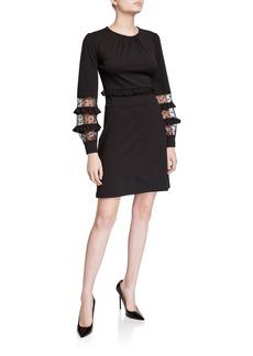 MICHAEL Michael Kors Long-Sleeve Mesh-Inset Scuba Dress