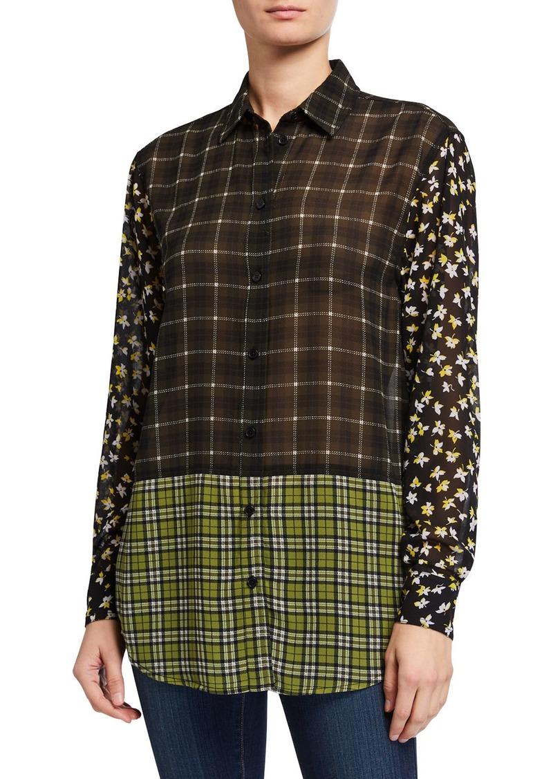MICHAEL Michael Kors Long-Sleeve Tartan Combo Shirt