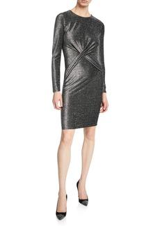 3dc64682e2 MICHAEL Michael Kors Long-Sleeve Twist-Waist Metallic Dress