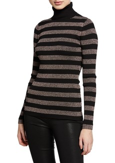 MICHAEL Michael Kors Lurex® Metallic Stripe Long-Sleeve Turtleneck Sweater