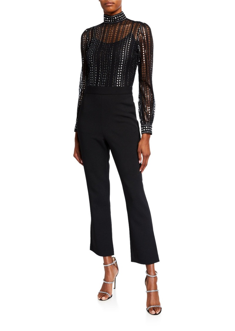 MICHAEL Michael Kors Lux Metallic Lace Long-Sleeve Flare-Leg Jumpsuit