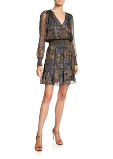 MICHAEL Michael Kors Mega Patchwork V-Neck Long-Sleeve Mini Dress