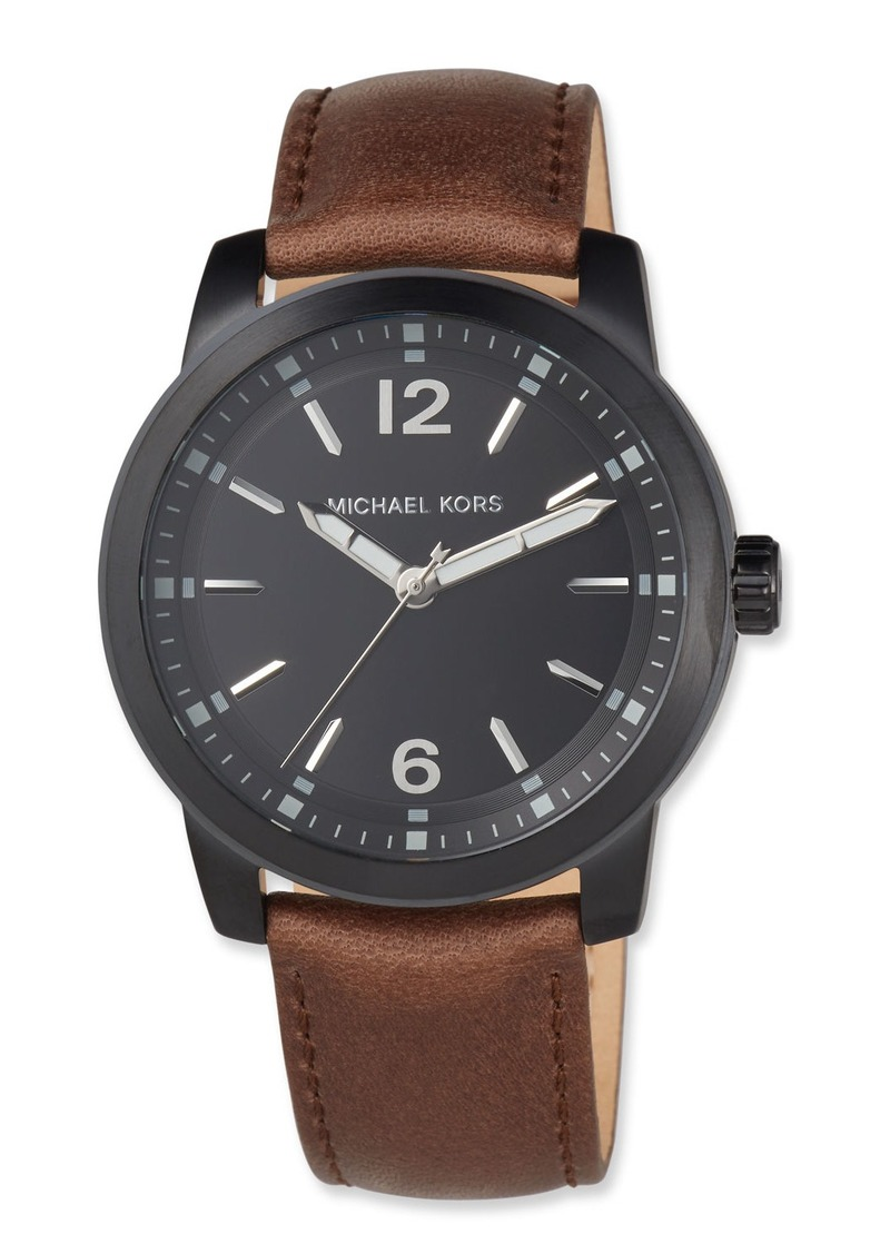 MICHAEL Michael Kors Men's 44mm Vonn Watch with Leather Strap  Brown/Black