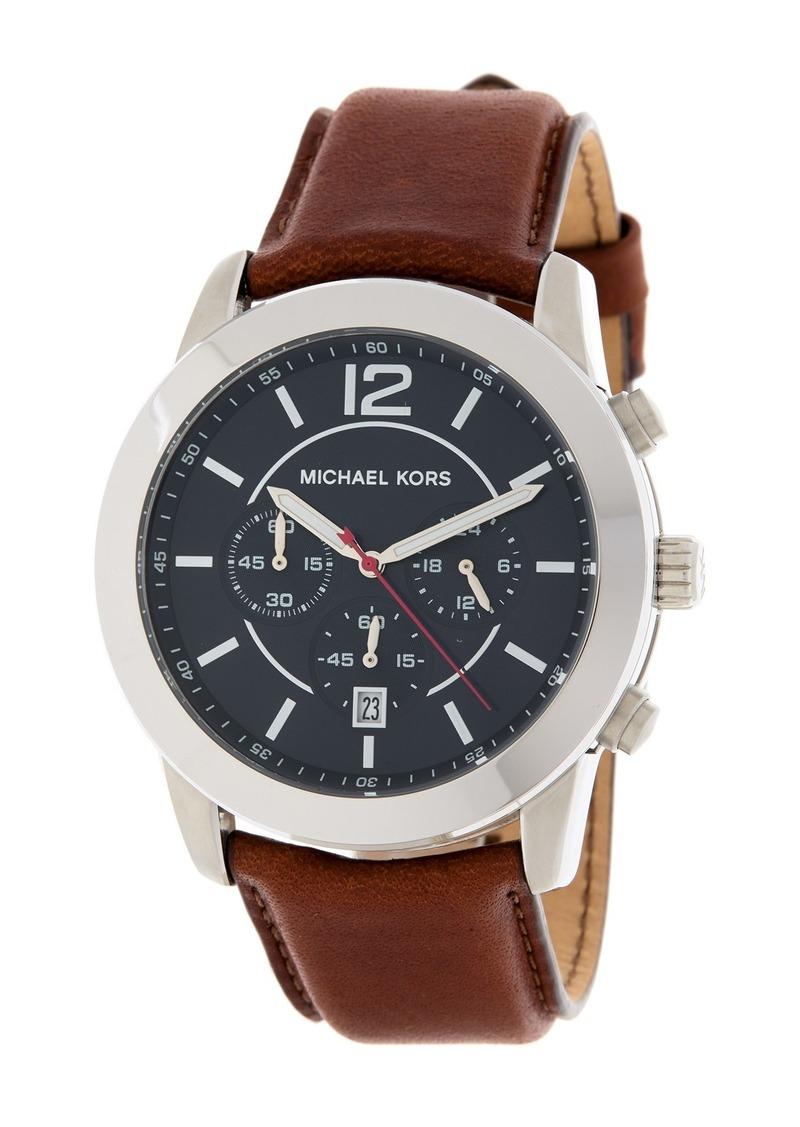 MICHAEL Michael Kors Men's Mercer Leather Strap Watch, 45mm