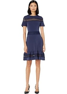 MICHAEL Michael Kors Mesh Mix Short Sleeve Dress