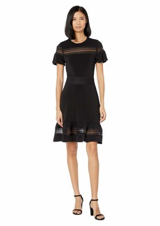 MICHAEL Michael Kors Mesh Mix Short Sleeve Dress