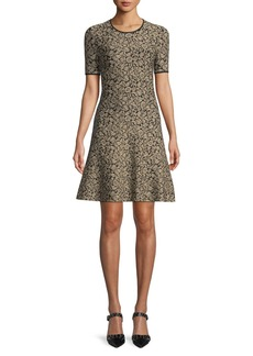 MICHAEL Michael Kors Metallic Jacquard A-Line Dress
