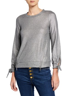 MICHAEL Michael Kors Metallic Two-Zip Tie-Cuff Sweatshirt