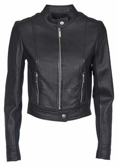 MICHAEL Michael Kors Michael Kors Black Leather Jacket And Fabric Inserts