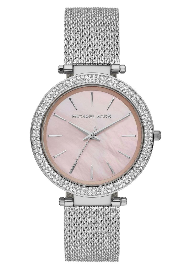 MICHAEL Michael Kors Michael Kors 'Darci' Crystal Bezel Mesh Strap Watch, 39mm