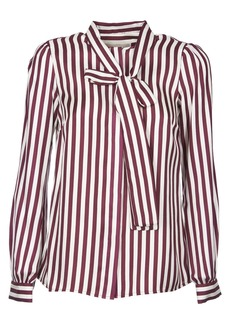 MICHAEL Michael Kors Michael Kors White And Purple Striped Shirt With Bow