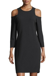 MICHAEL Michael Kors 3/4-Sleeve Cutout-Shoulder Dress