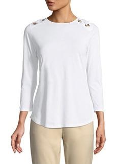 MICHAEL Michael Kors 3/4-Sleeve Grommet-Shoulder Tee