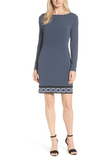 MICHAEL Michael Kors Alston Boatneck Contrast Border Print Dress