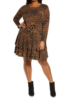 MICHAEL Michael Kors Animal Patchwork Long Sleeve Flounce Dress