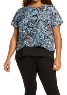 MICHAEL Michael Kors Arabesque Paisley Short Sleeve Top (Plus Size)