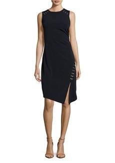 MICHAEL MICHAEL KORS Asymmetrical Metallic Laced Up Dress