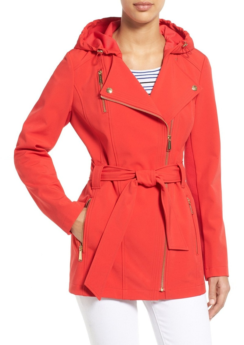 MICHAEL Michael Kors Asymmetrical Zip Belted Soft Shell Coat