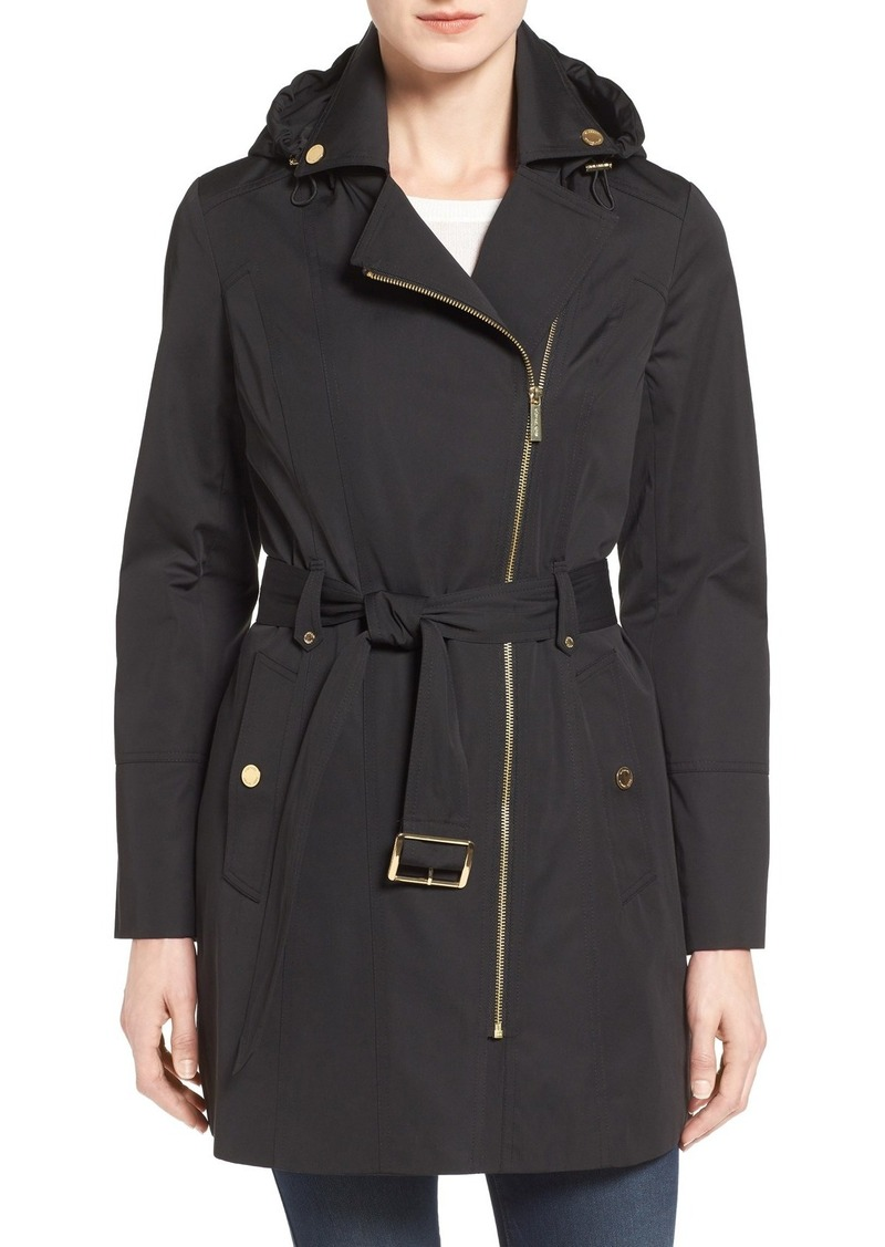 MICHAEL Michael Kors Asymmetrical Zip Front Hooded Trench Coat (Regular & Petite)