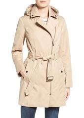 MICHAEL Michael Kors Asymmetrical Zip Front Hooded Trench Coat (Regular & Petite)