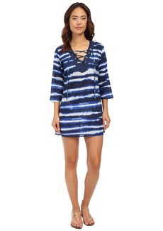 MICHAEL Michael Kors Azur Stripe V-Neck Tunic Cover-Up