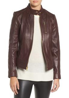 MICHAEL Michael Kors Band Collar Front Zip Leather Jacket