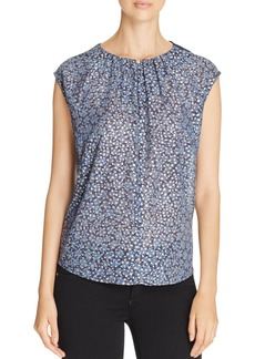 MICHAEL Michael Kors Bayoux Abstract Foil Mixed Media Top