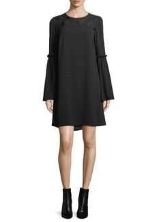 MICHAEL Michael Kors Bell-Sleeve Lace-Yoke Shift Dress