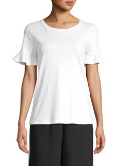 MICHAEL Michael Kors Bell-Sleeve Linen & Cotton-Blend Tee