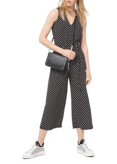MICHAEL Michael Kors Belted Dot-Print Crepe Jumpsuit