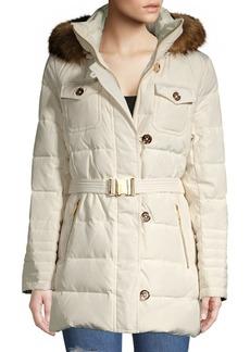 MICHAEL Michael Kors Belted Faux Fur Hood Puffer Coat