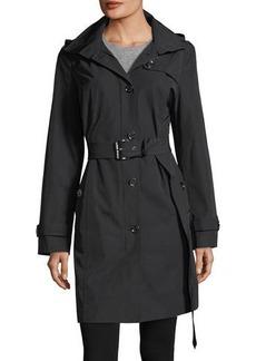 MICHAEL Michael Kors Belted Hooded Long Rain Coat