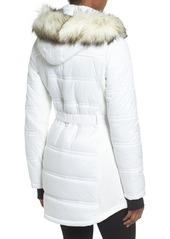 MICHAEL Michael Kors Belted Mixed Media Coat with Faux Fur Trim Hood