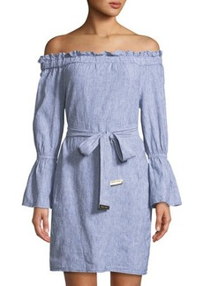MICHAEL Michael Kors Belted Off-The-Shoulder Linen Dress