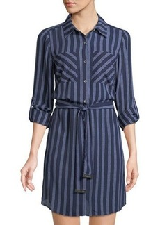 MICHAEL Michael Kors Belted Striped Shirtdress