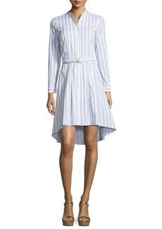 MICHAEL Michael Kors Bengal-Striped High-Low Shirtdress