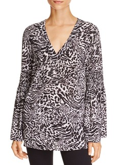 MICHAEL Michael Kors Big Cat Print Bell Sleeve Tunic