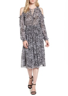 MICHAEL Michael Kors Big Cat Print Cold Shoulder Dress