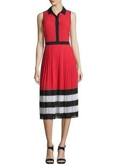 MICHAEL Michael Kors Billerly Striped Pleated A-Line Midi Dress