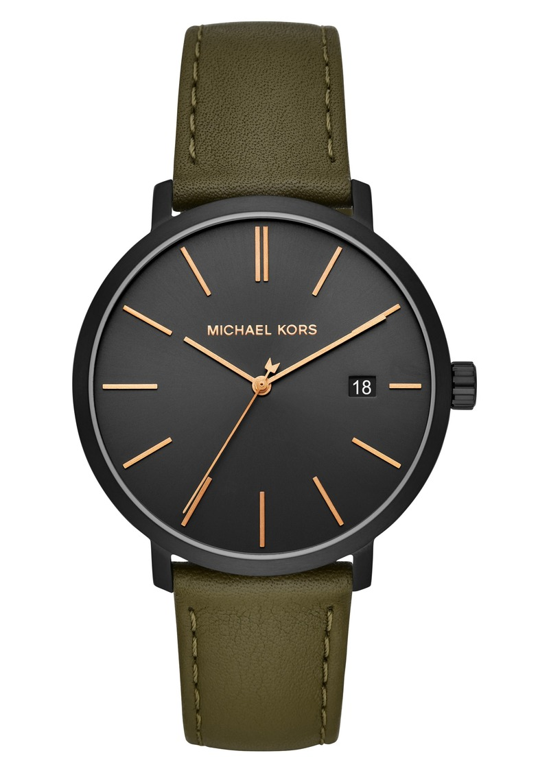 MICHAEL Michael Kors Blake Leather Strap Watch, 42mm