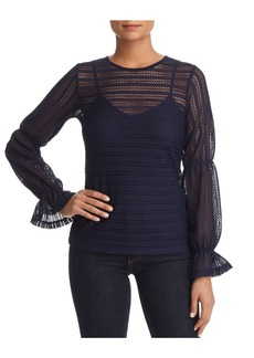 MICHAEL Michael Kors Blouson-Sleeve Open-Knit Top