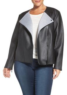MICHAEL Michael Kors Bonded Faux Leather Jacket (Plus Size)
